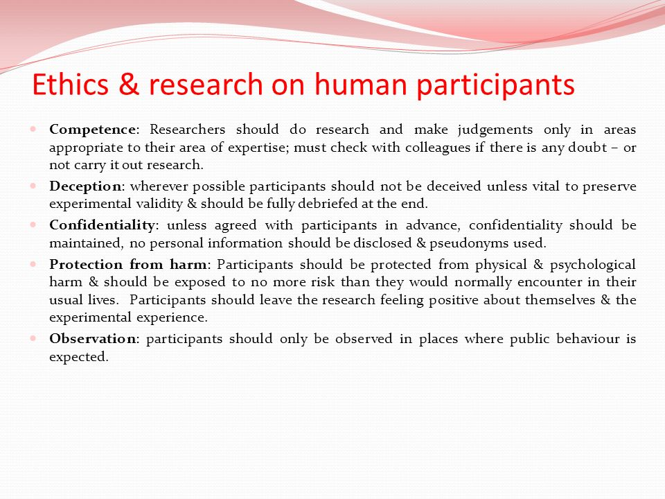 Ethics & research on human participants