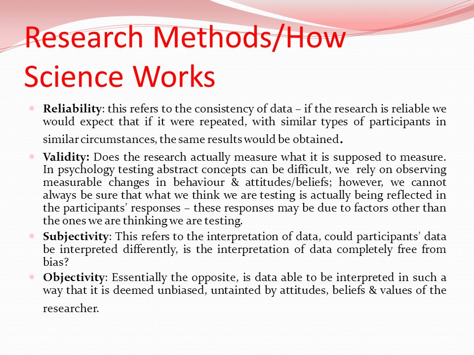 Research Methods/How Science Works