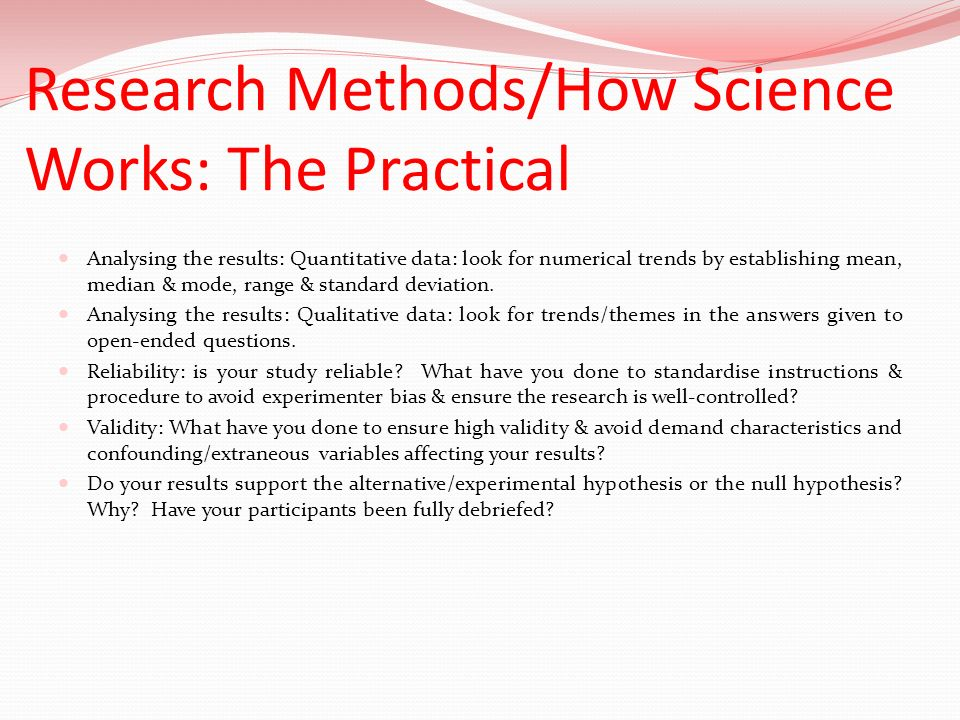 Research Methods/How Science Works: The Practical