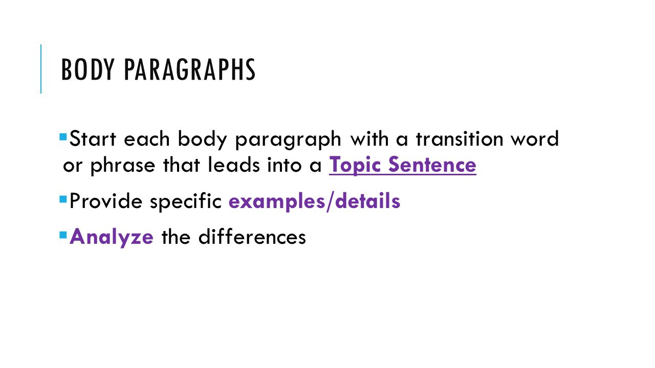 Body Paragraphs Start each body paragraph with a transition word or phrase that leads into a Topic Sentence.