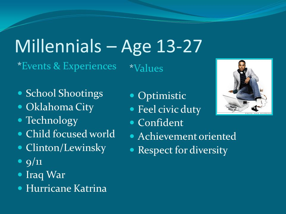 Millennials – Age 13-27 *Events & Experiences *Values School Shootings