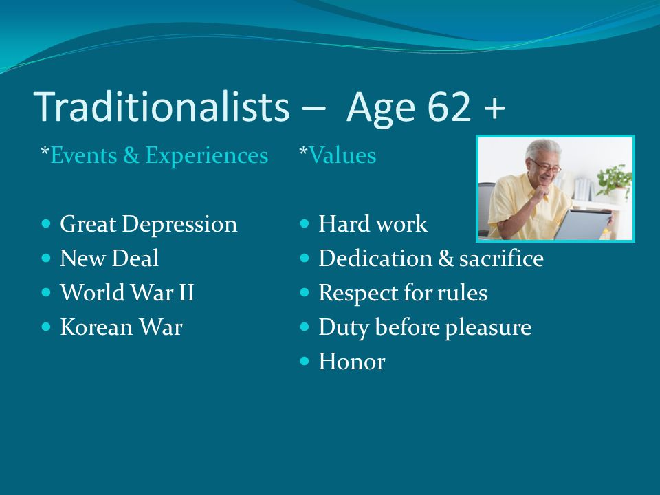 Traditionalists – Age 62 +