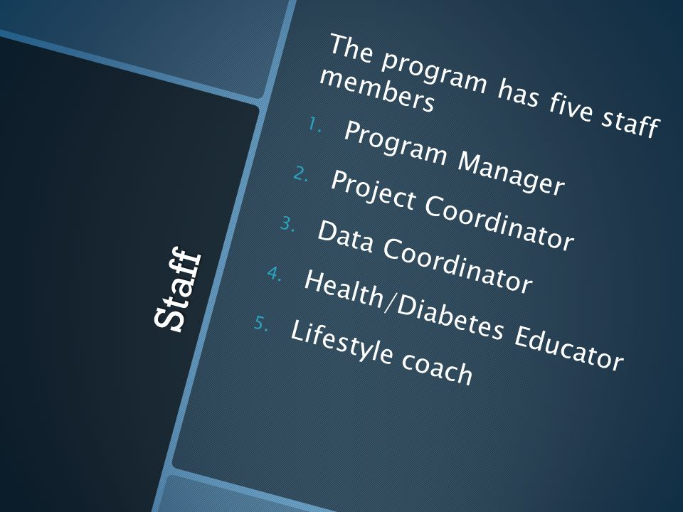 Staff The program has five staff members Program Manager