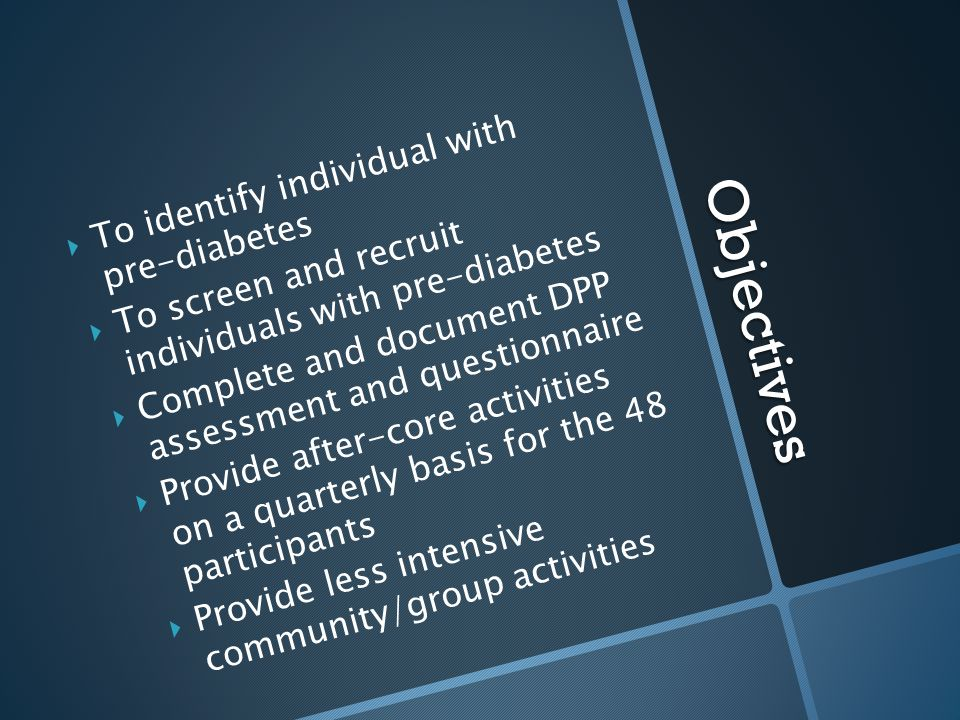 Objectives To identify individual with pre-diabetes