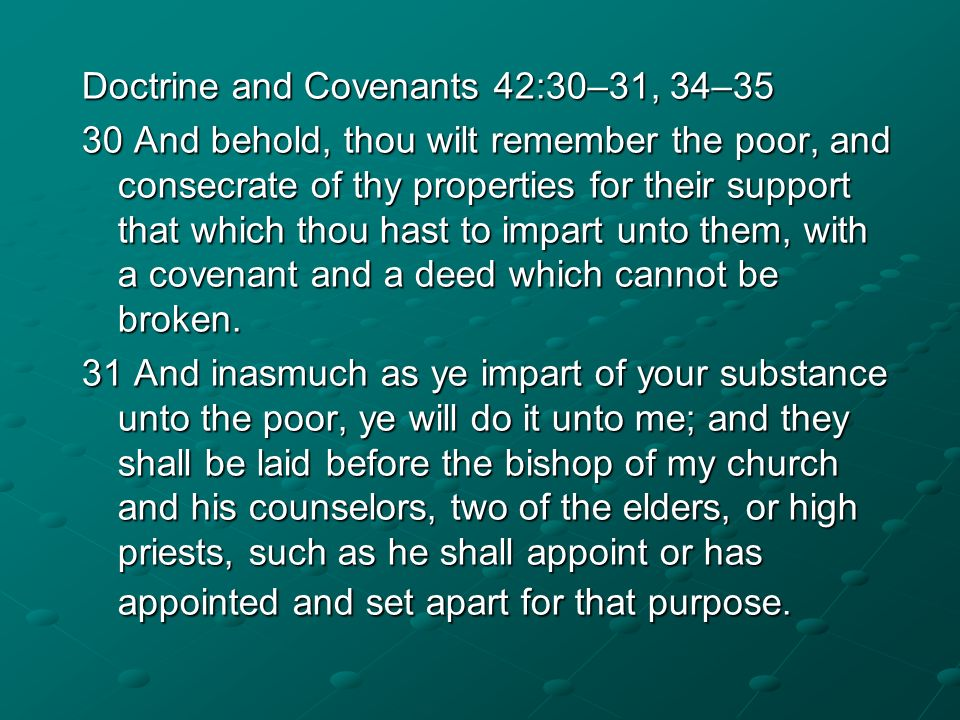 Doctrine and Covenants 42:30–31, 34–35