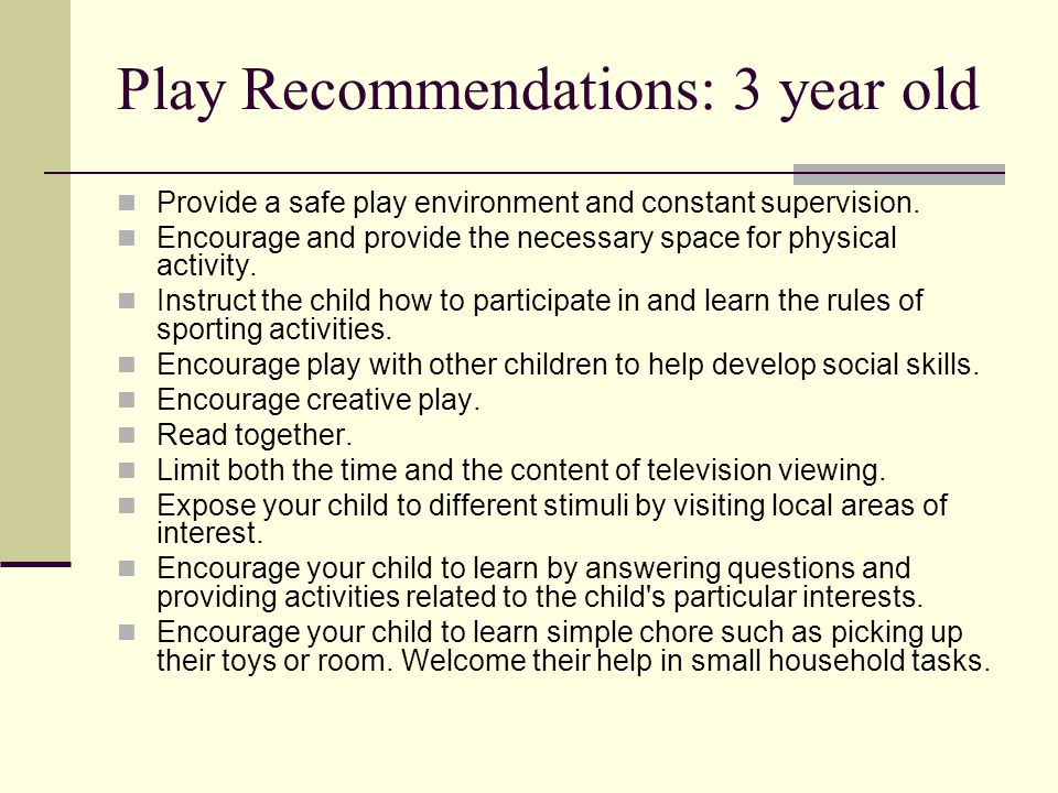 Play Recommendations: 3 year old