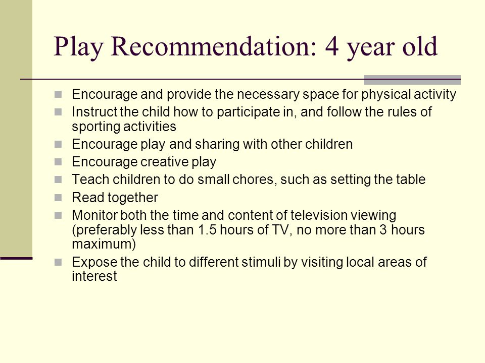 Play Recommendation: 4 year old