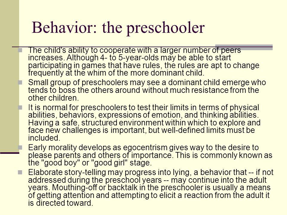 Behavior: the preschooler