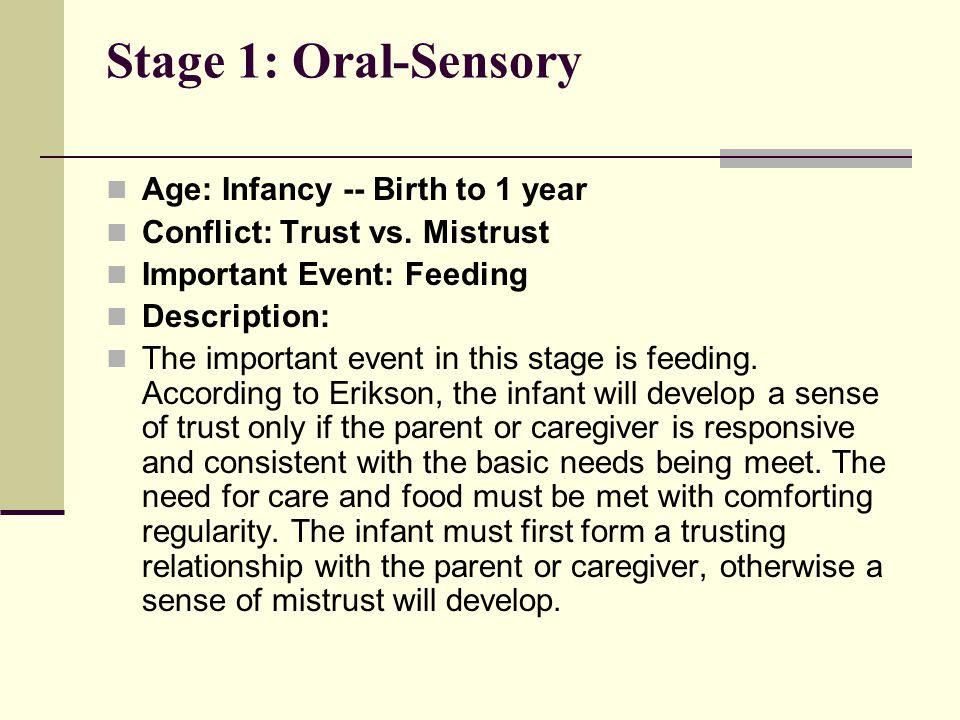 Stage 1: Oral-Sensory Age: Infancy -- Birth to 1 year