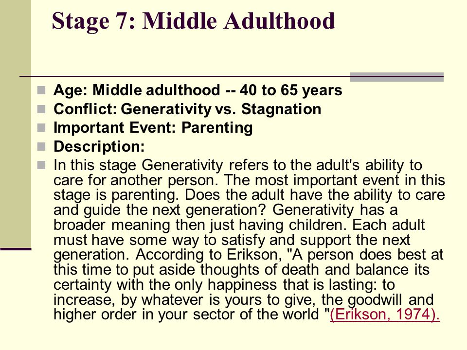Stage 7: Middle Adulthood