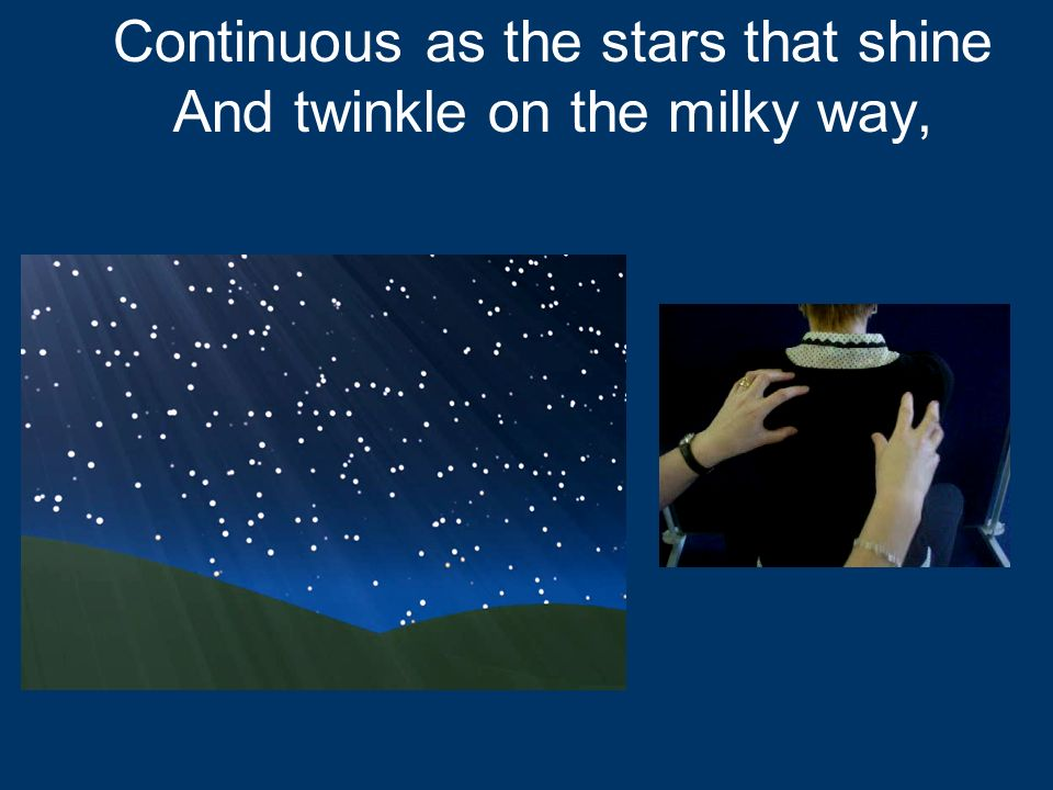 Continuous as the stars that shine And twinkle on the milky way,