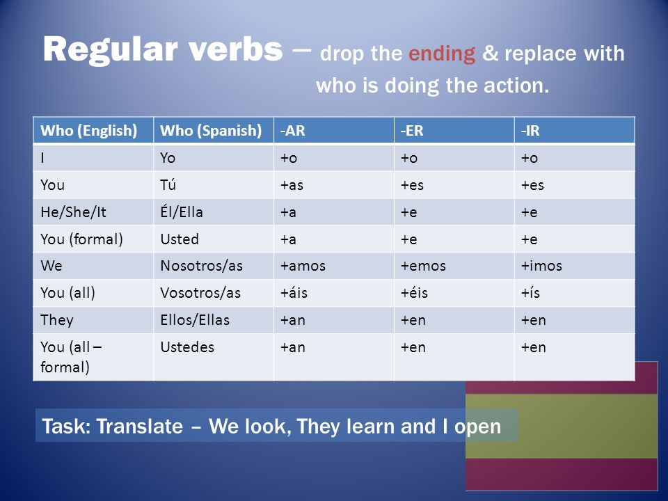 Regular verbs – drop the ending & replace with who is doing the action.