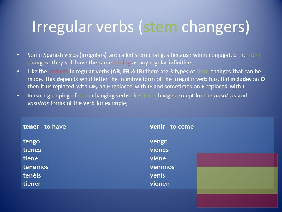 Irregular verbs (stem changers)