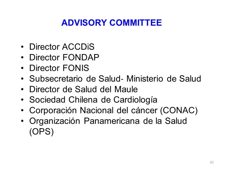 ADVISORY COMMITTEE Director ACCDiS. Director FONDAP. Director FONIS. Subsecretario de Salud‐ Ministerio de Salud.