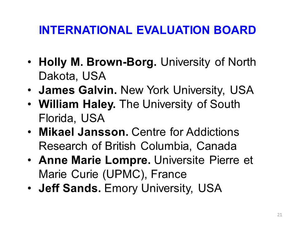 INTERNATIONAL EVALUATION BOARD