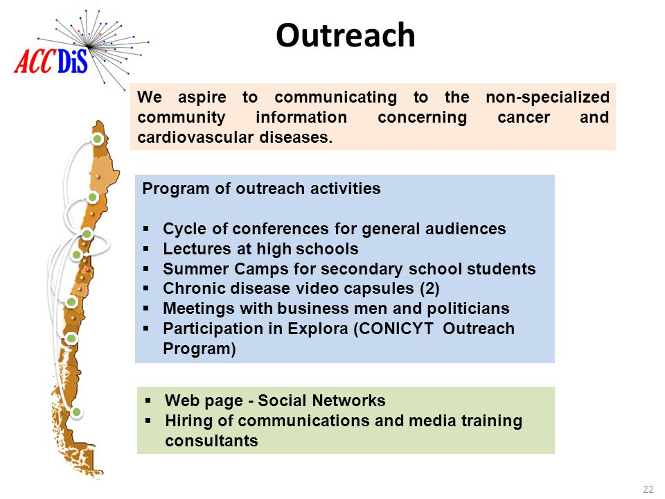 Outreach We aspire to communicating to the non-specialized community information concerning cancer and cardiovascular diseases.