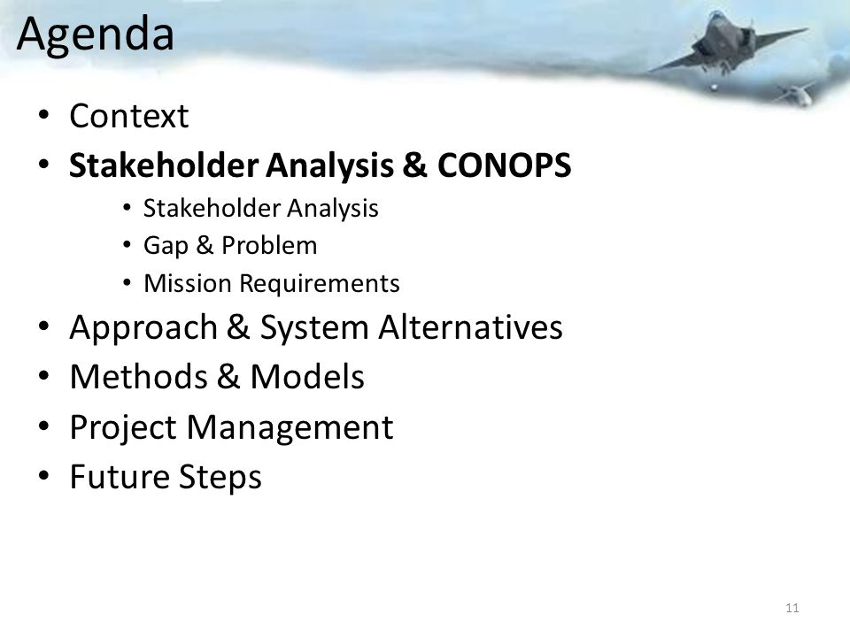 Agenda Context Stakeholder Analysis & CONOPS