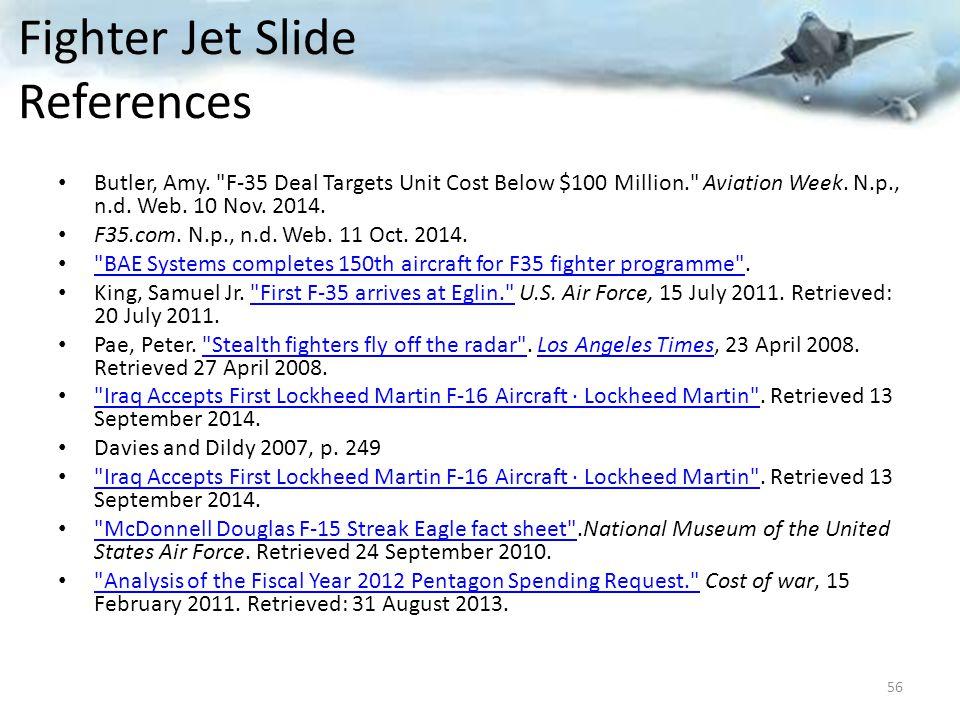 Fighter Jet Slide References