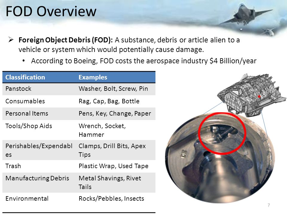 FOD Overview Foreign Object Debris (FOD): A substance, debris or article alien to a vehicle or system which would potentially cause damage.