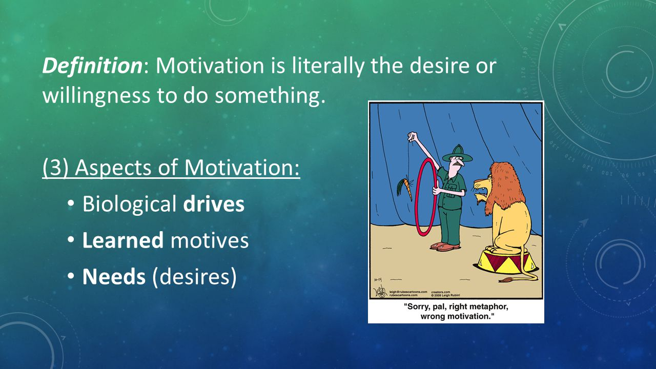 Definition: Motivation is literally the desire or willingness to do something.