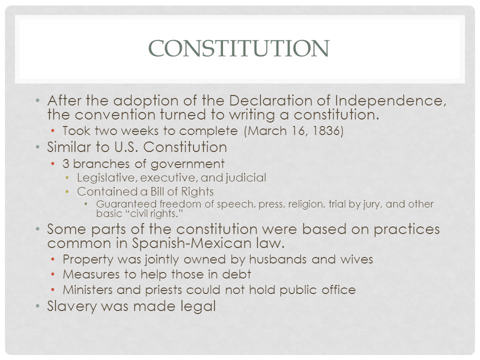 Constitution After the adoption of the Declaration of Independence, the convention turned to writing a constitution.