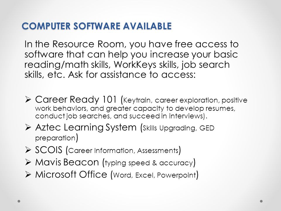 COMPUTER SOFTWARE AVAILABLE