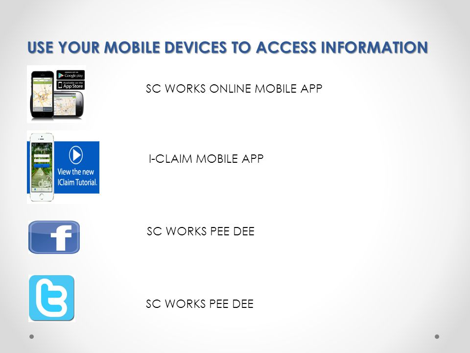 USE YOUR MOBILE DEVICES TO ACCESS INFORMATION