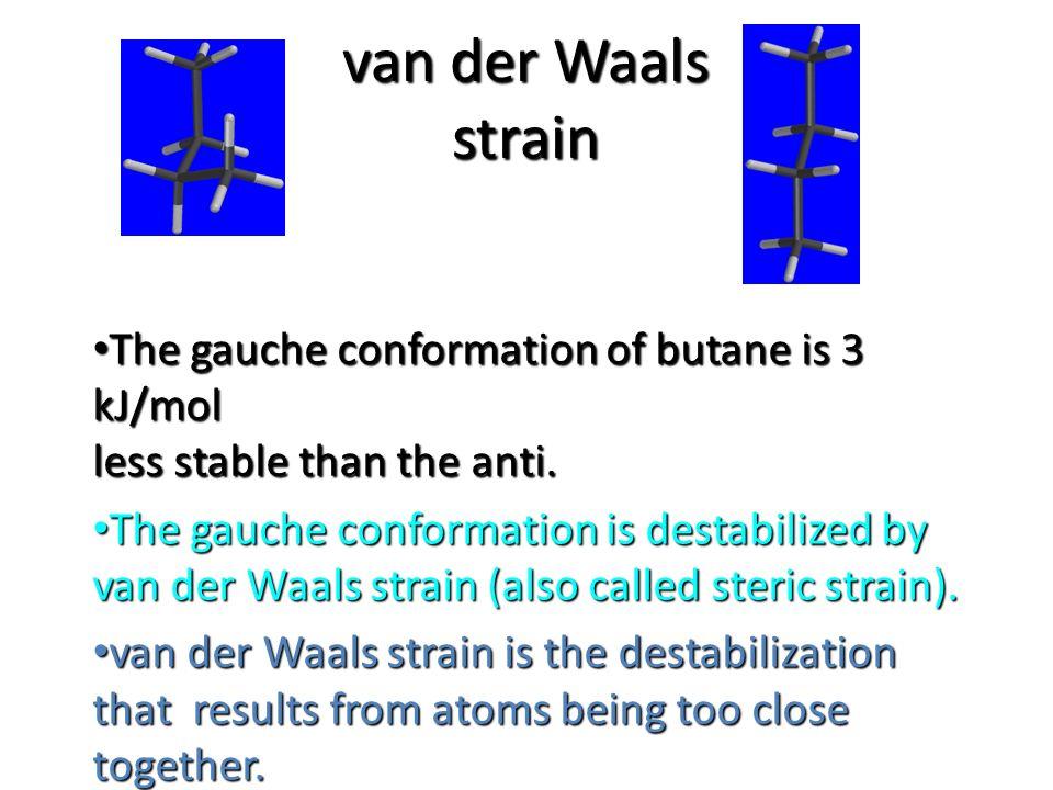 van der Waals strain The gauche conformation of butane is 3 kJ/mol less stable than the anti.
