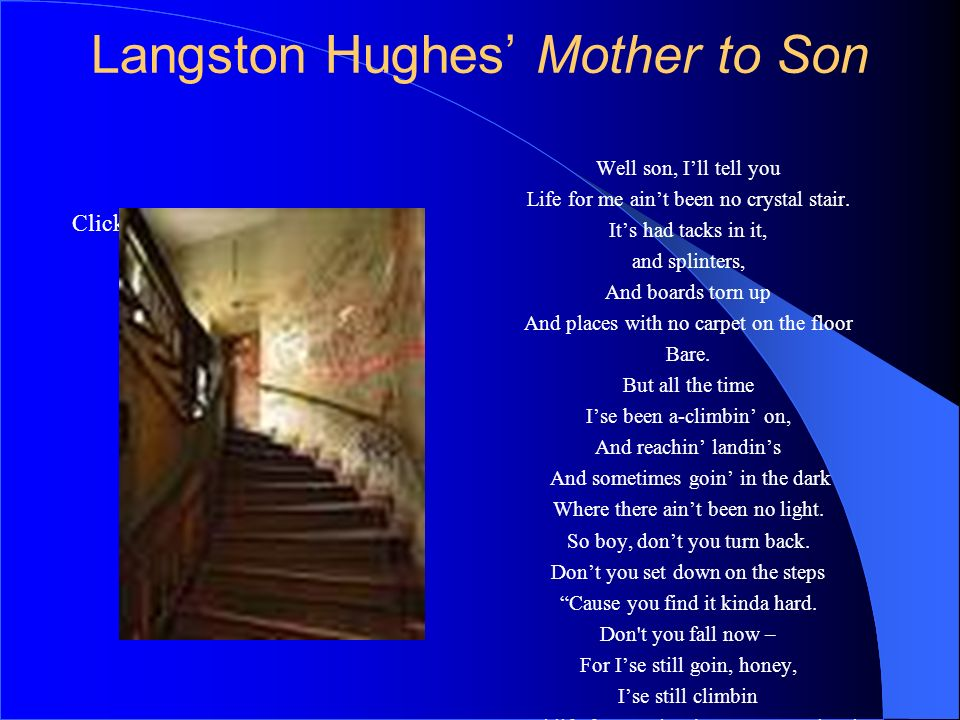 Langston Hughes' Mother to Son