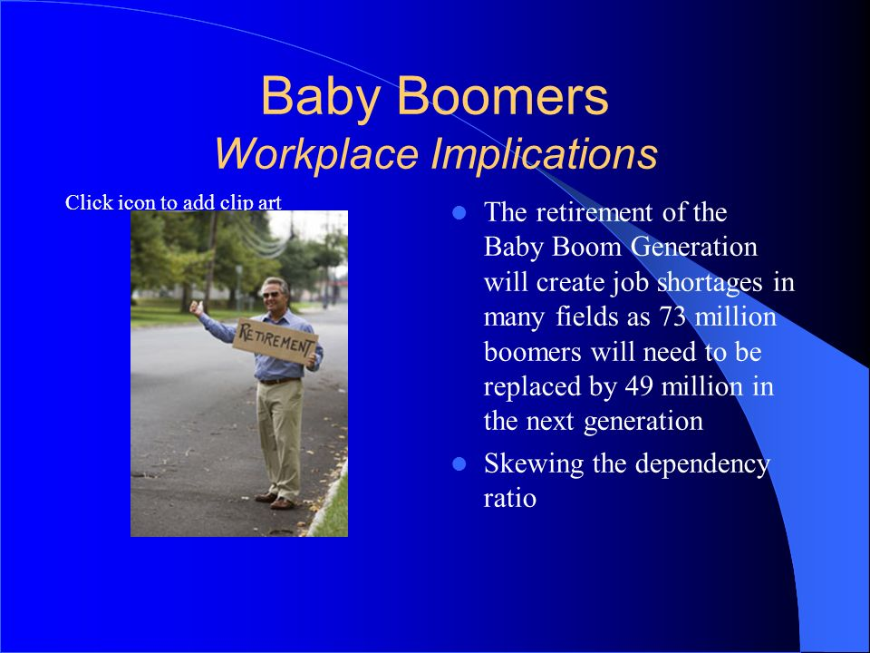 expected implications of baby boomers retirement Between 2010 and 2030, 10,000 baby boomers (the generation born between 1946-1964) will reach the retirement age of 65 as this generation begins to retire, the technology and it industries will feel the impact in a few different ways.
