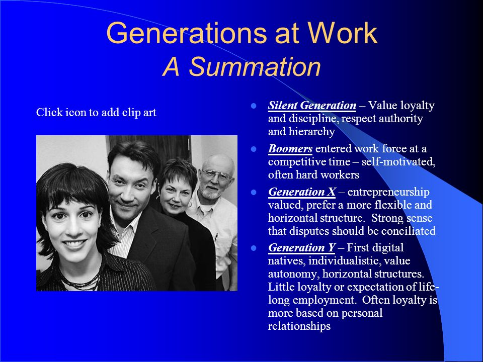 Generations at Work A Summation