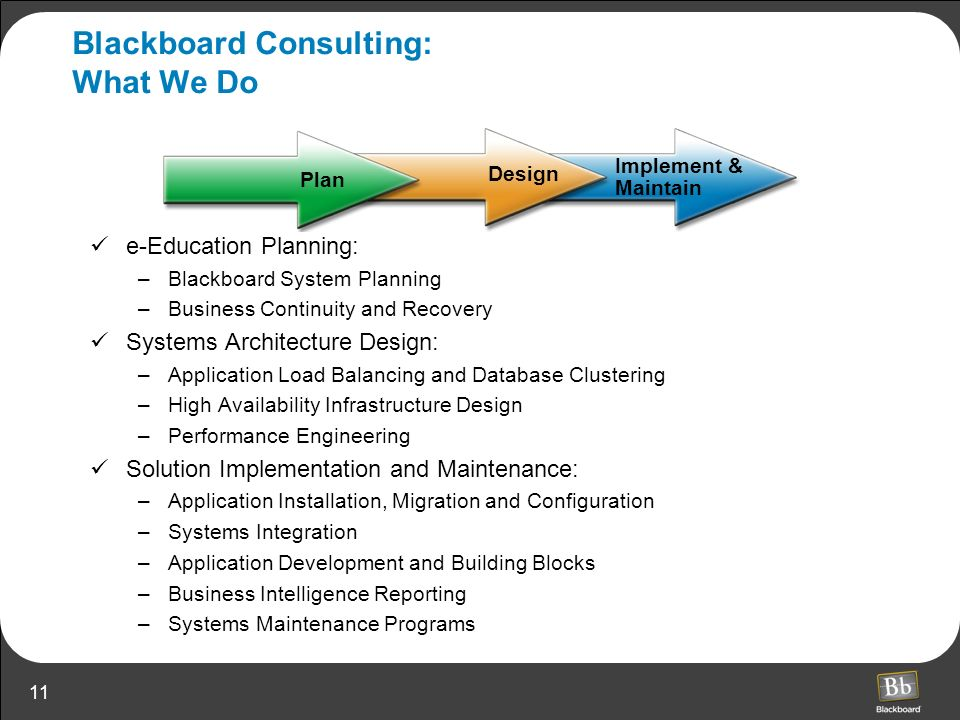 Blackboard Consulting: What We Do