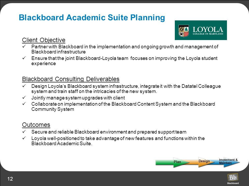 Blackboard Academic Suite Planning