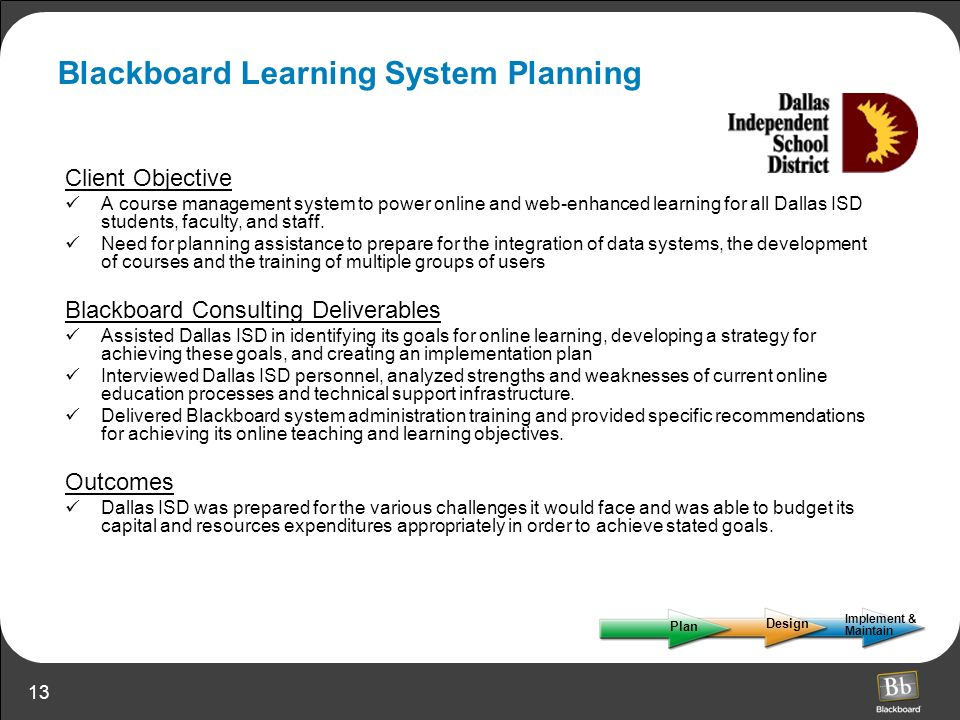 Blackboard Learning System Planning