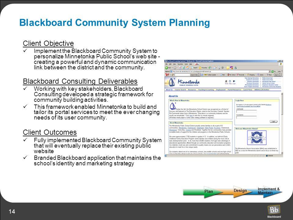 Blackboard Community System Planning