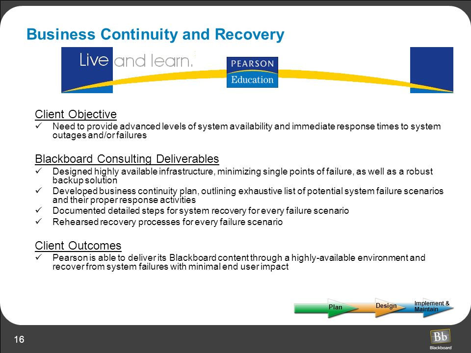Business Continuity and Recovery