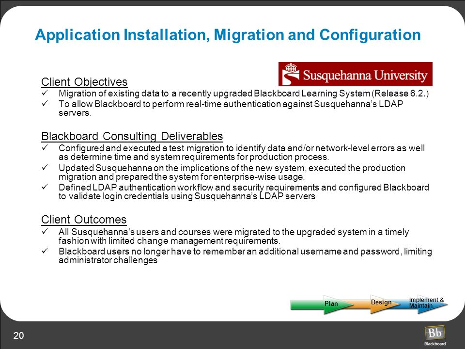 Application Installation, Migration and Configuration