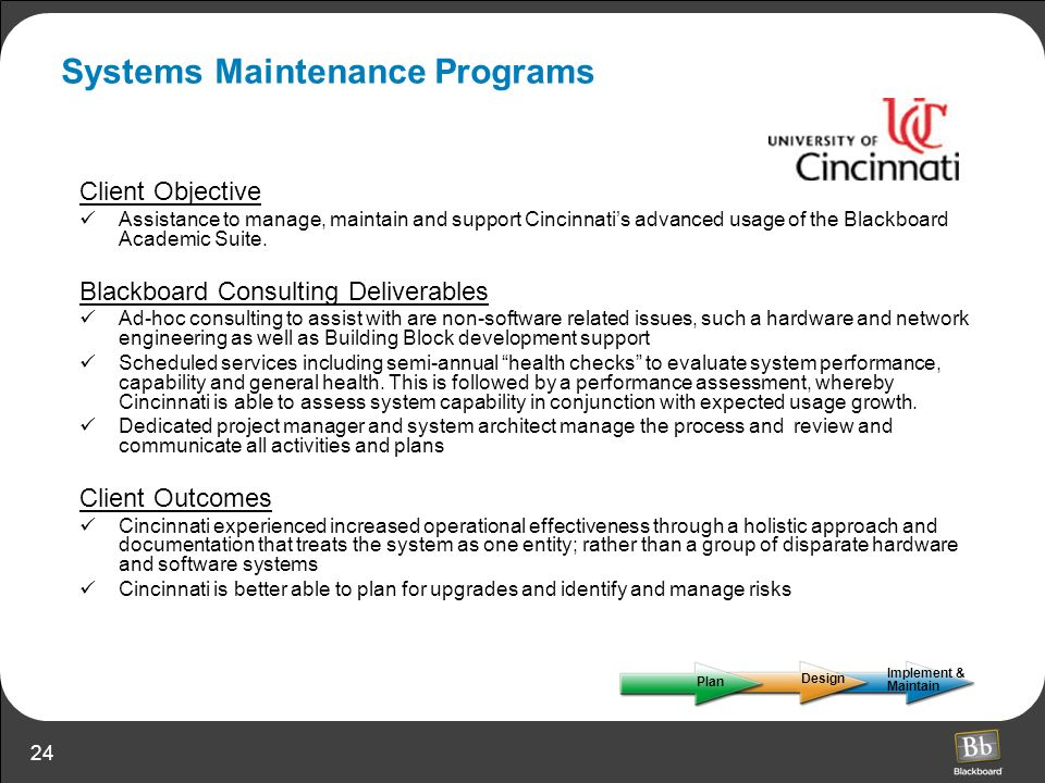 Systems Maintenance Programs