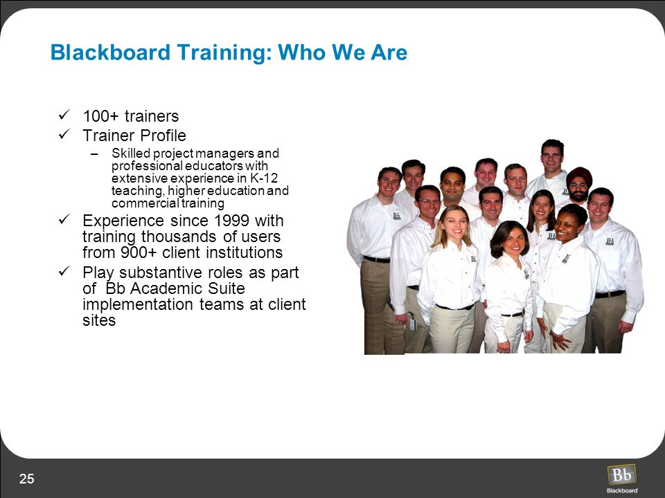 Blackboard Training: Who We Are