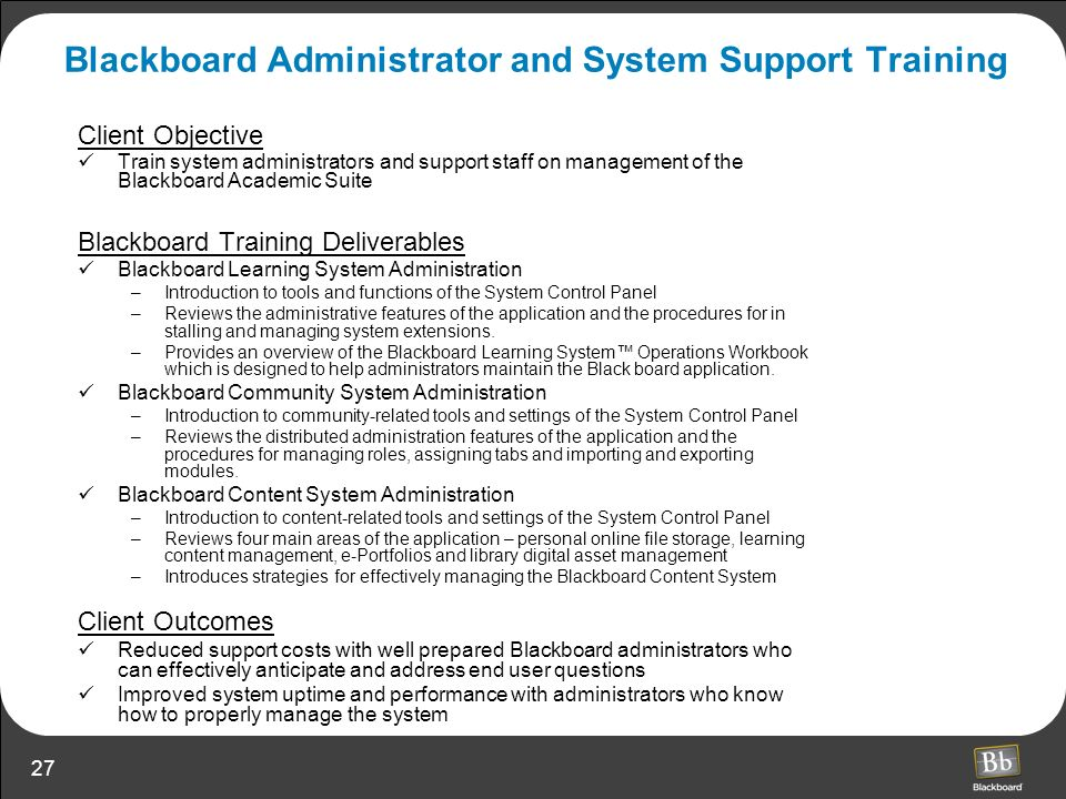 Blackboard Administrator and System Support Training