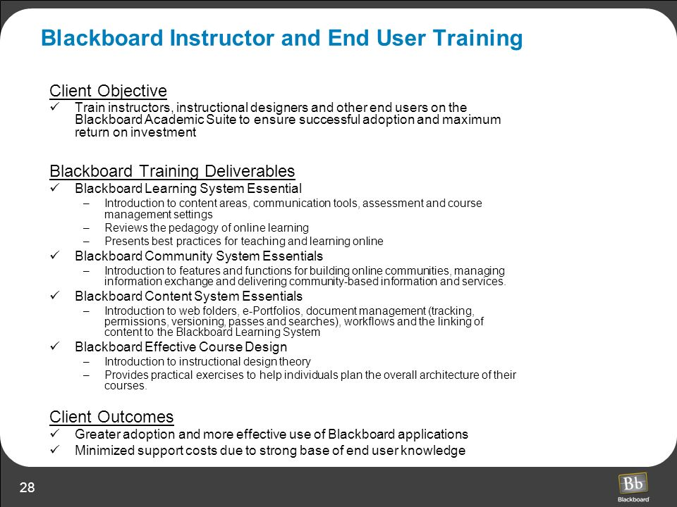 Blackboard Instructor and End User Training