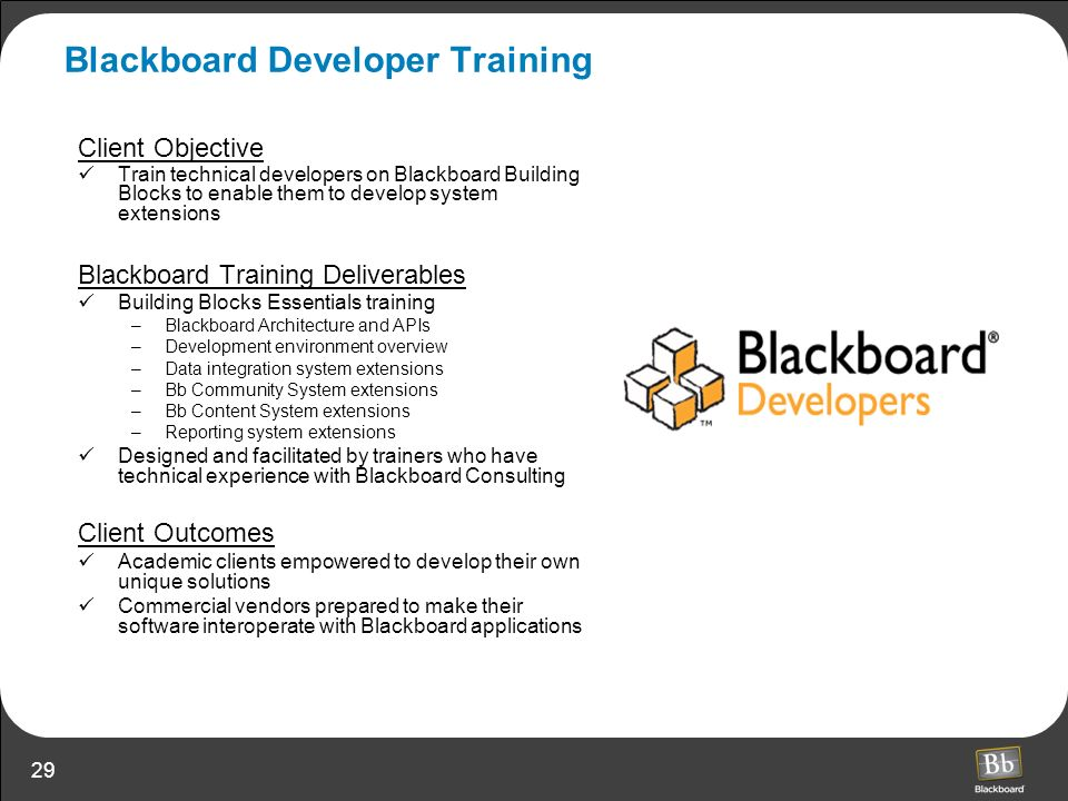 Blackboard Developer Training