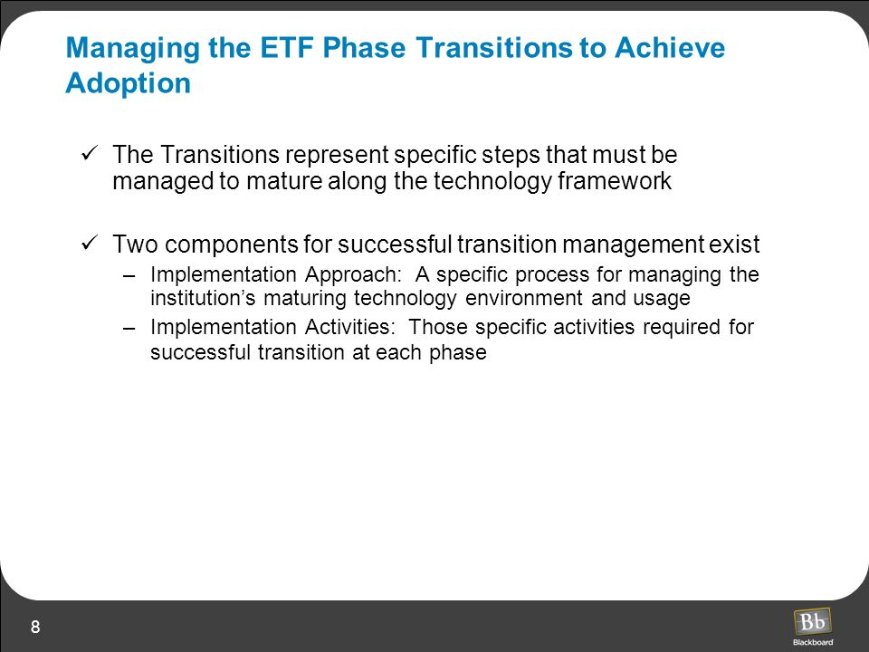 Managing the ETF Phase Transitions to Achieve Adoption