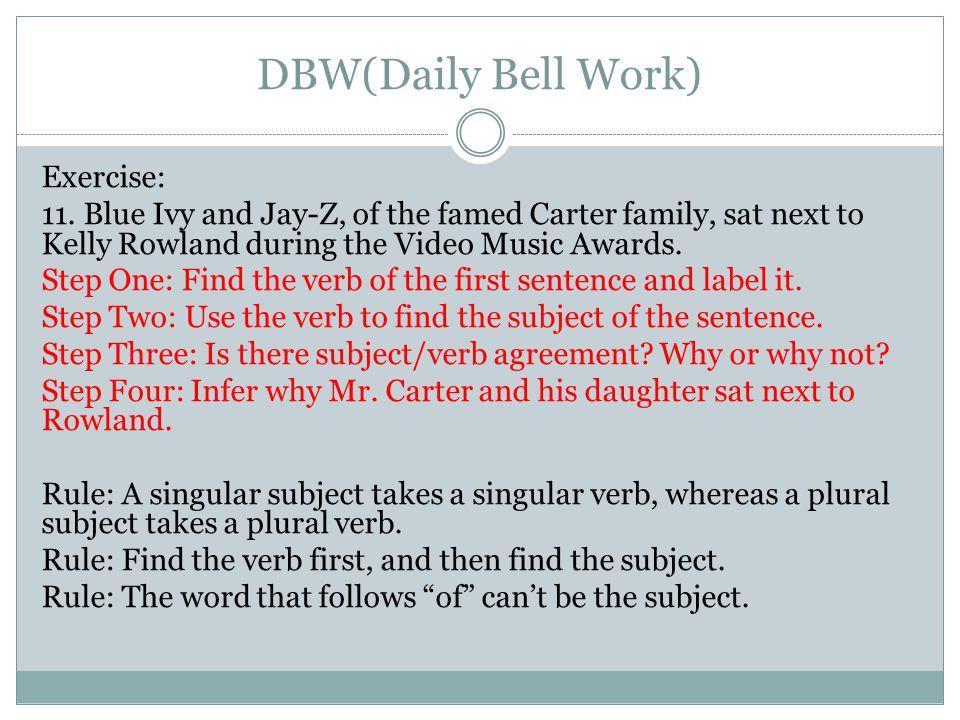 DBW(Daily Bell Work)