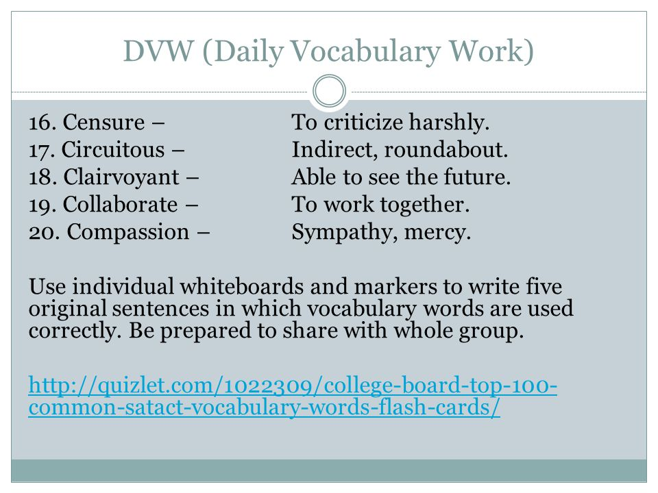 DVW (Daily Vocabulary Work)