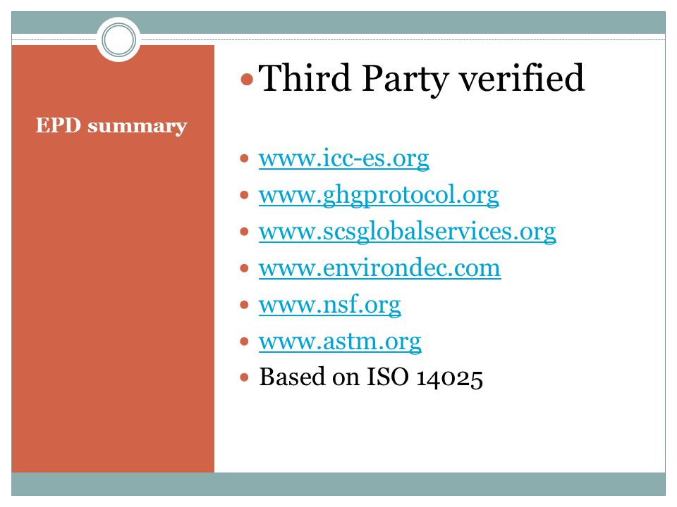 Third Party verified www.icc-es.org www.ghgprotocol.org