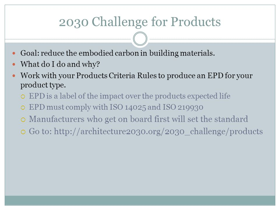 2030 Challenge for Products