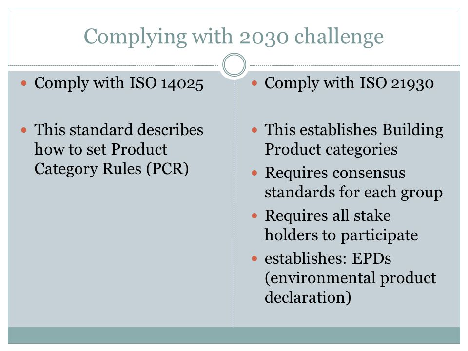 Complying with 2030 challenge
