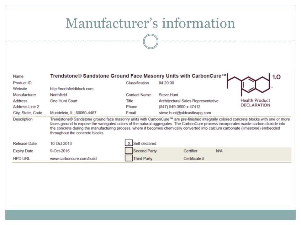 Manufacturer's information