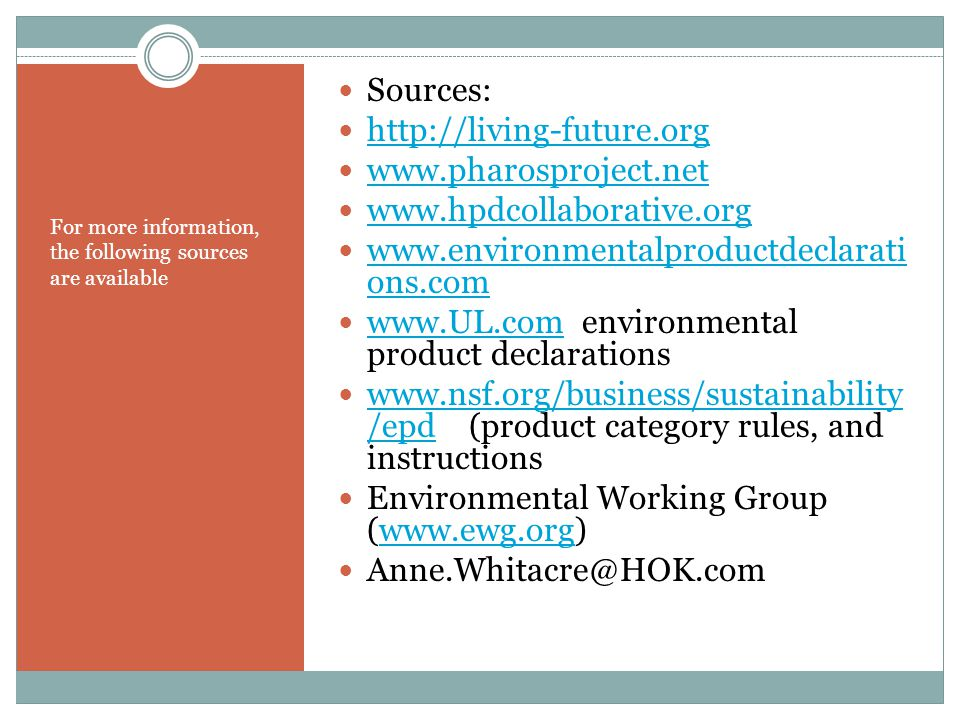 www.UL.com environmental product declarations